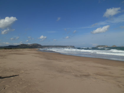 Gola de Ter beach in Spring with waves
