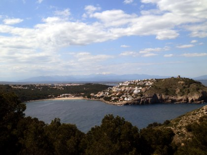 Viewpoint above Montgo with views over Escala to Pyrenees on Costa Brava