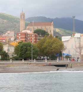 Portbou church from beach