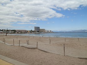 Main beach at Riells (Escala) on the Costa Brava