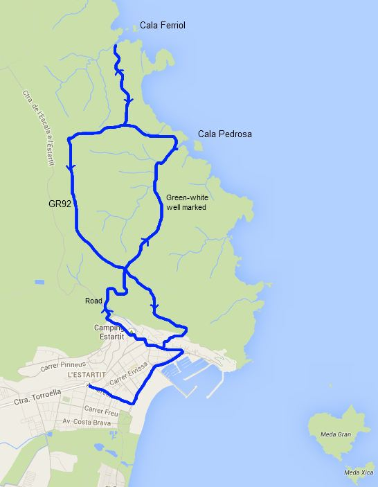 Walking route from Estartit to Cala Pedrosa and Cala Ferriol on the Costa Brava