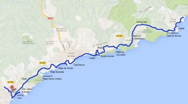 Walking route GR92 from Blanes to Lloret de Mar and Tossa de Mar