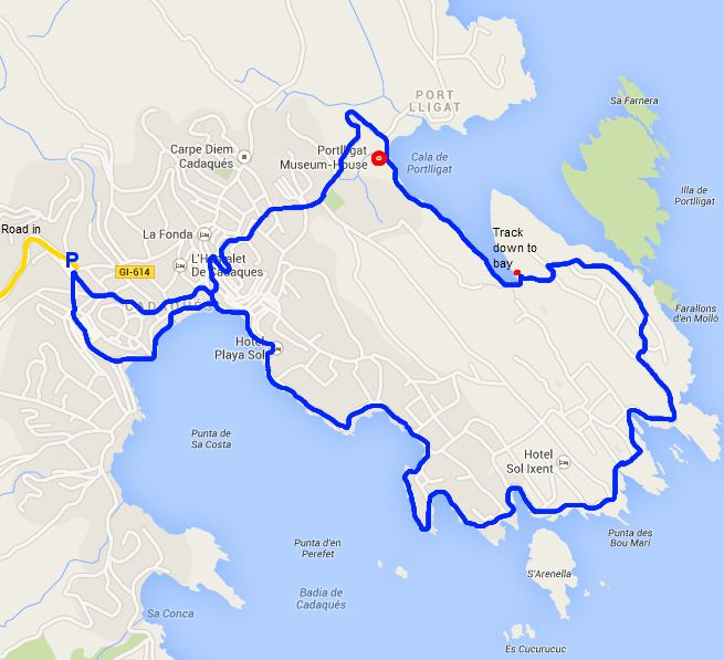 Walking route for Cadaques and Port Lligat